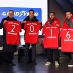 Trikotausch der Partner Goodyear und FC Bayern München