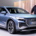 2021 Audi Q4 e-tron in Geyser blue, metallic